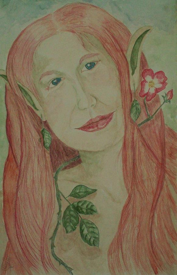 Faerie Painting - A Rose Faerie by Carrie Viscome Skinner