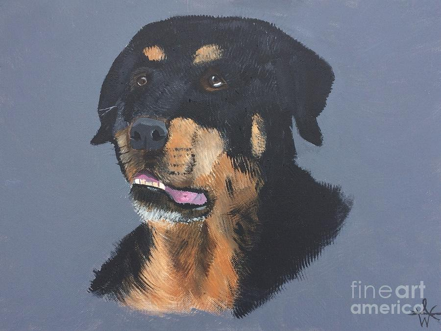 A Rottie Named Thor Painting by Ambre Wallitsch