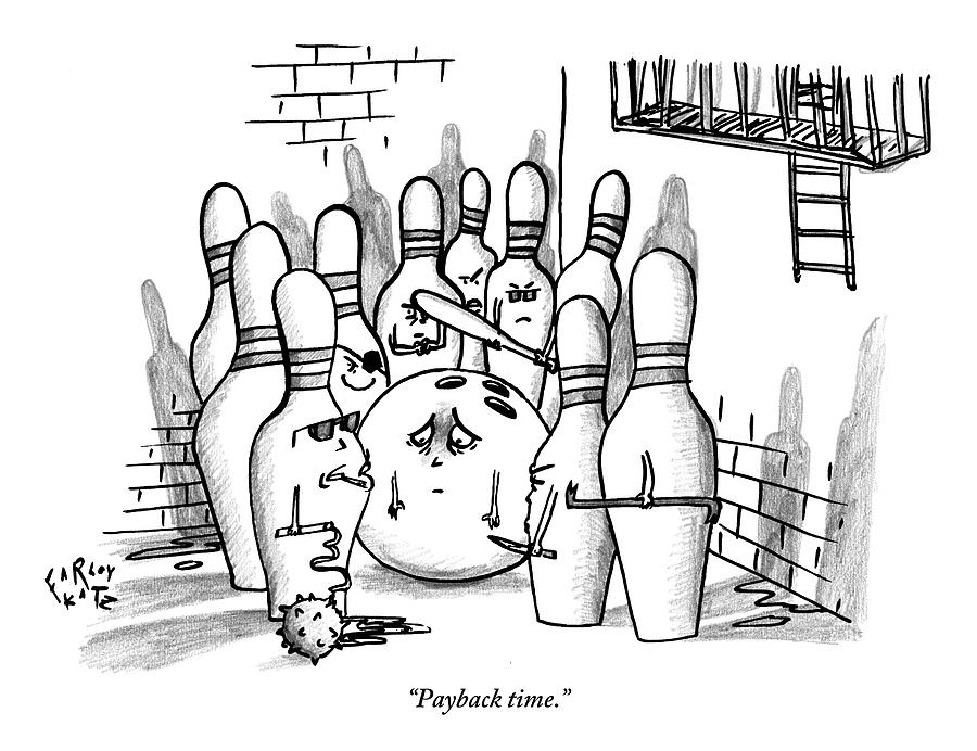 Bowling Drawing - A Rough Gang Of Ten Bowling Pins Holding Weapons by Farley Katz