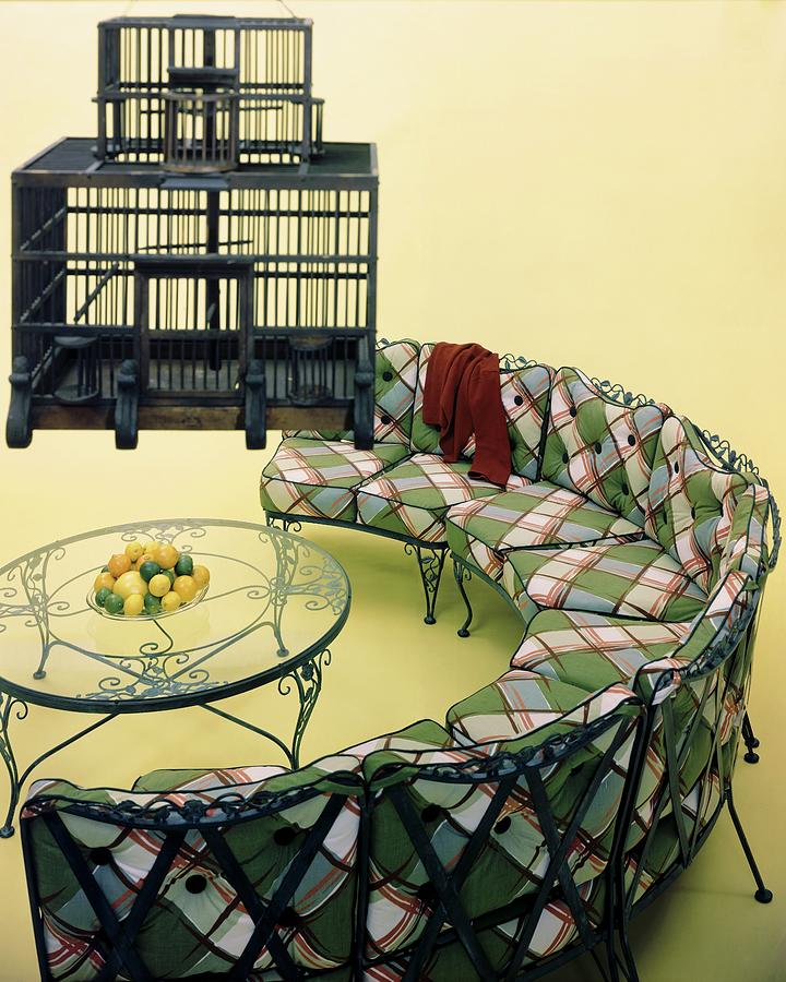 A Round Couch And A Birdcage Photograph by Haanel Cassidy