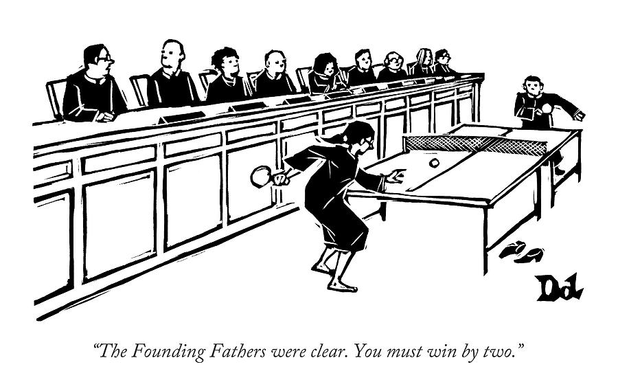 A Row Of Judges Sits At A Long Court Desk Drawing by Drew Dernavich