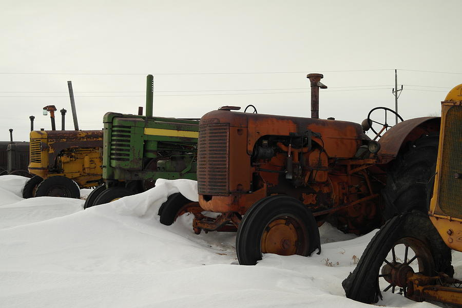 Tractors Photograph - A Row Of Relics by Jeff Swan