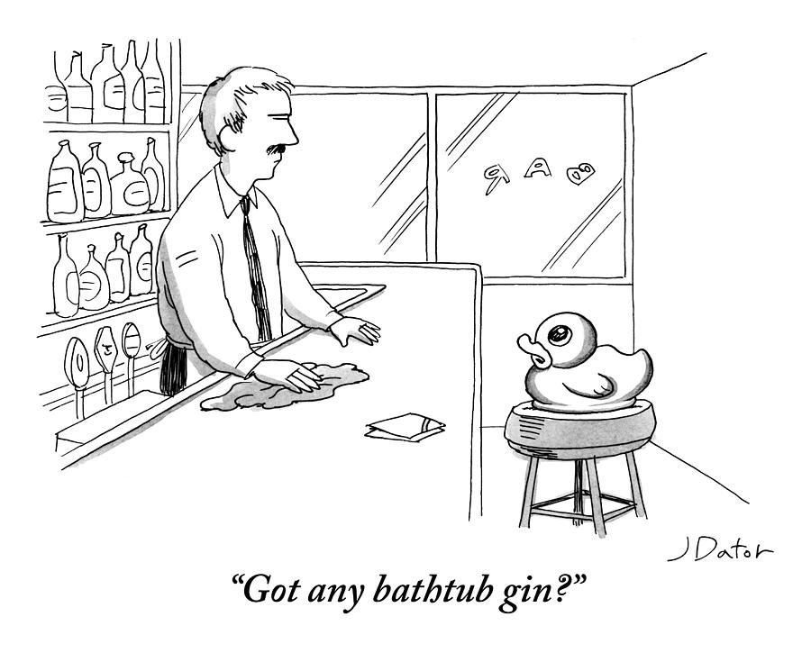A Rubber Duck At A Bar Addresses The Bartender Drawing by Joe Dator