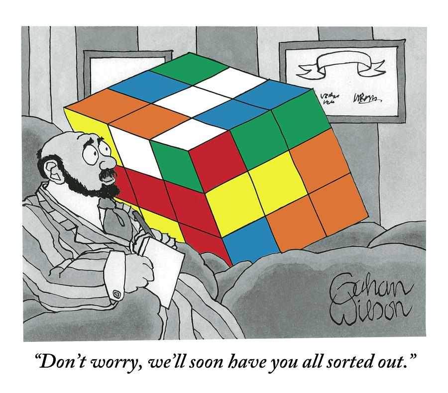 A Rubiks Cube Is Seen In A Psychiatrists Office Drawing by Gahan Wilson