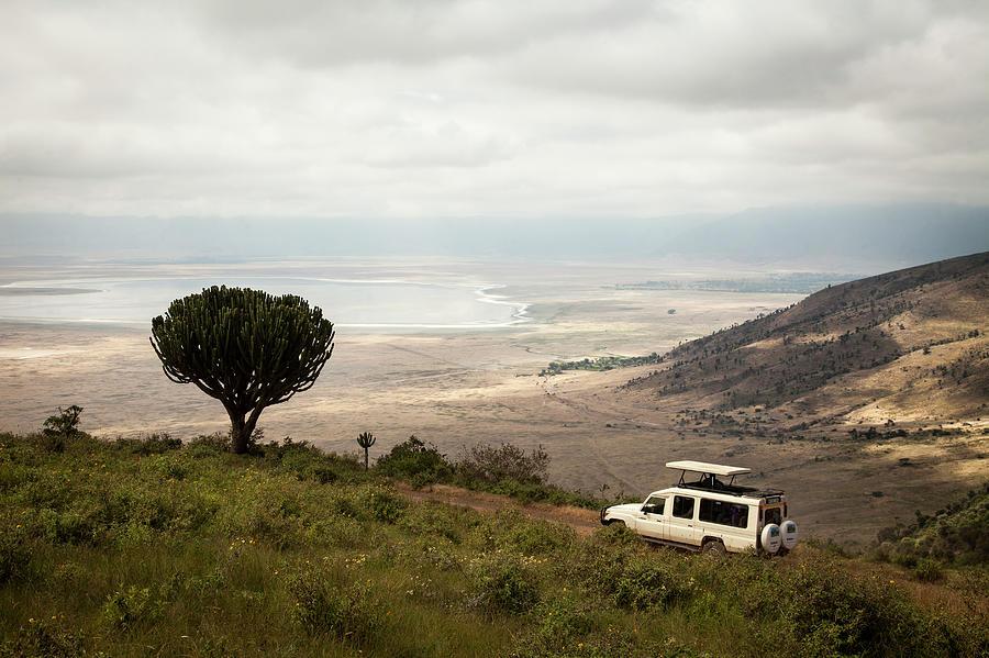 A Safari Truck Descends Into The Photograph by Tegra Stone Nuess