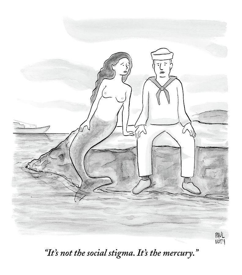 A Sailor Breaks Up With His Naked Mermaid Drawing by Paul Noth