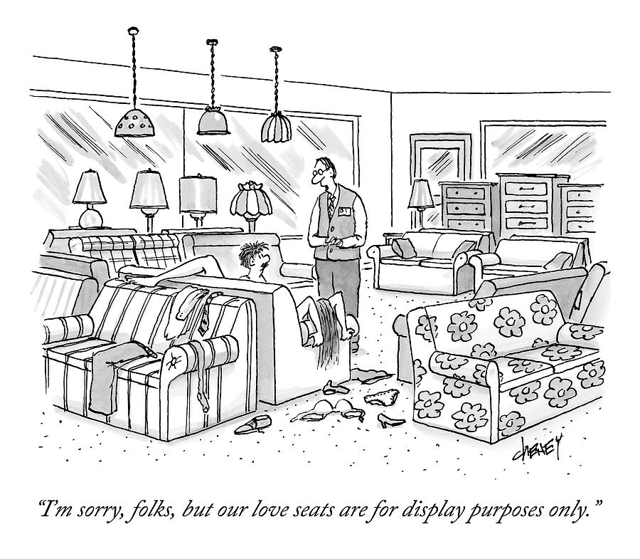 A Salesperson In A Furniture Store Addresses Two Drawing by Tom Cheney