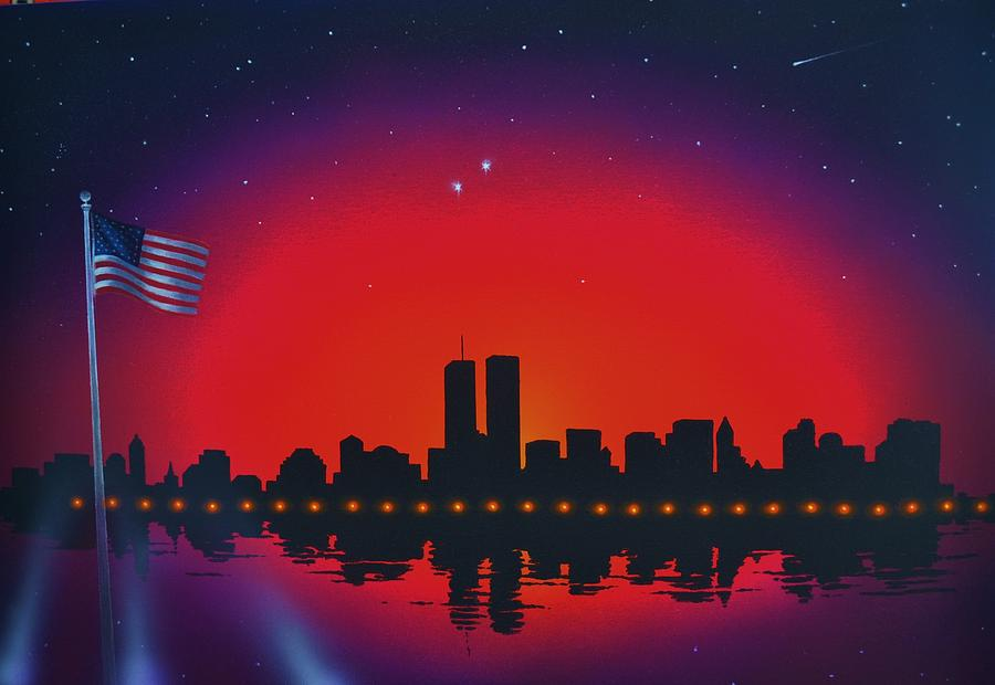 Twin Towers Painting - A salute to the Twin Towers by Thomas Kolendra
