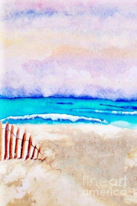 Watercolor Painting Painting - A Sand Filled Beach by Chrisann Ellis