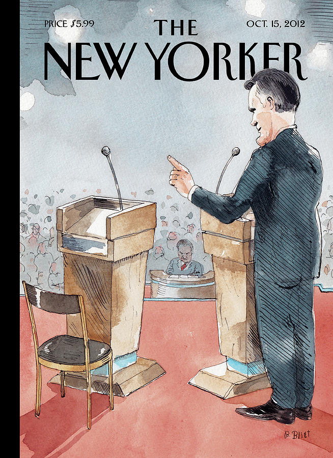 A Scene From The Presidential Debate Painting by Barry Blitt