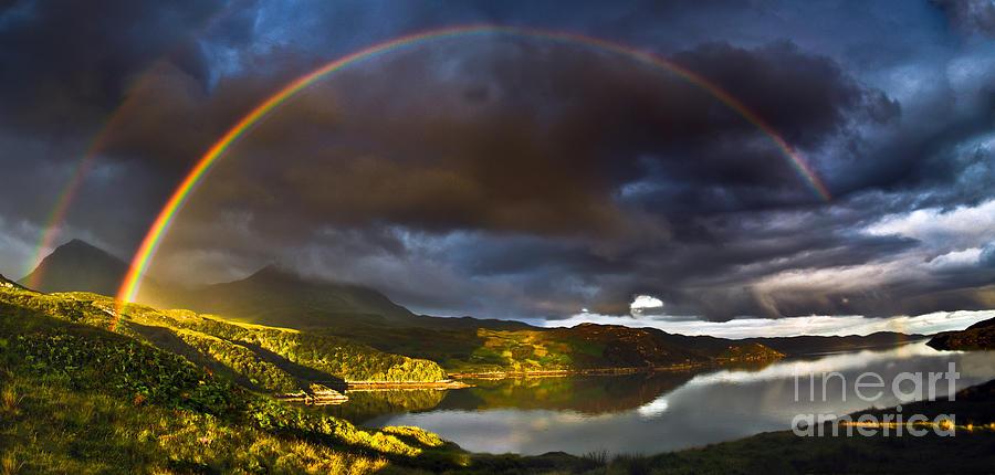 Kylesku Photograph - A Scottish Highland Rainbow Kylesku by John Farnan