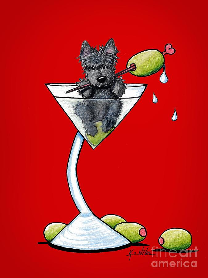 Scottish Martini Drawing - A Scottish Martini by Kim Niles