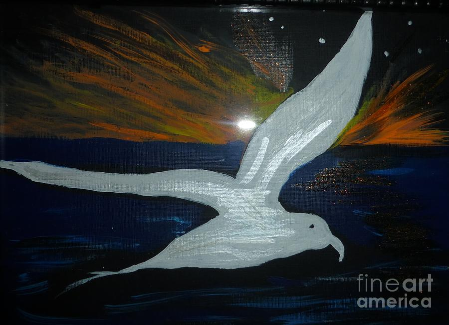 A Seagull At Night Painting by Marie Bulger