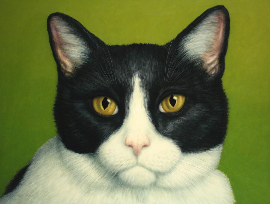 Serious Painting - A Serious Cat by James W Johnson