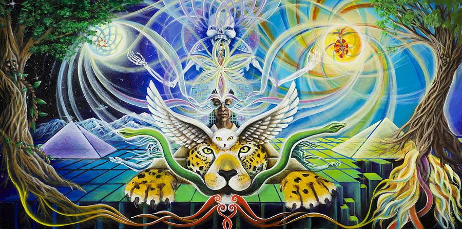 Jaguar Painting - A Shamans Journey Through The Heart Of The Sun by Morgan  Mandala Manley