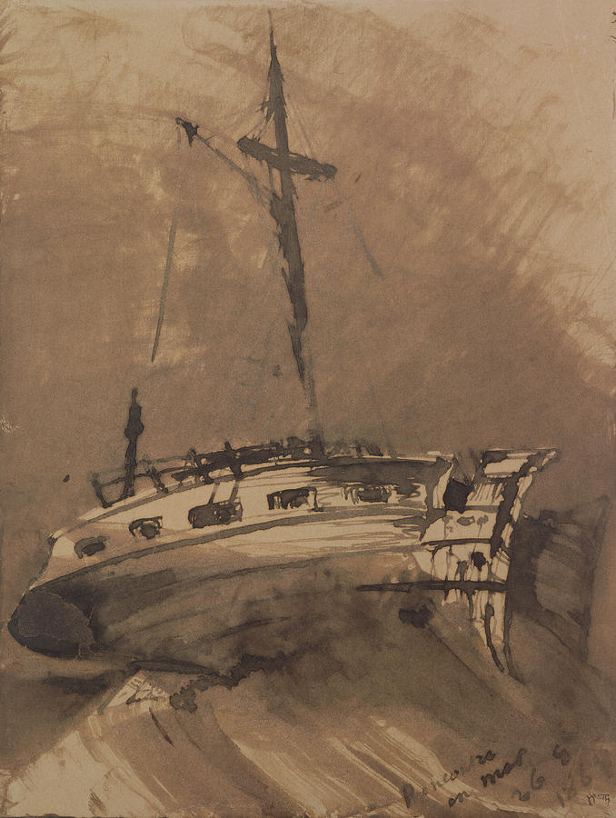 A Painting - A Ship In Choppy Seas by Victor Hugo