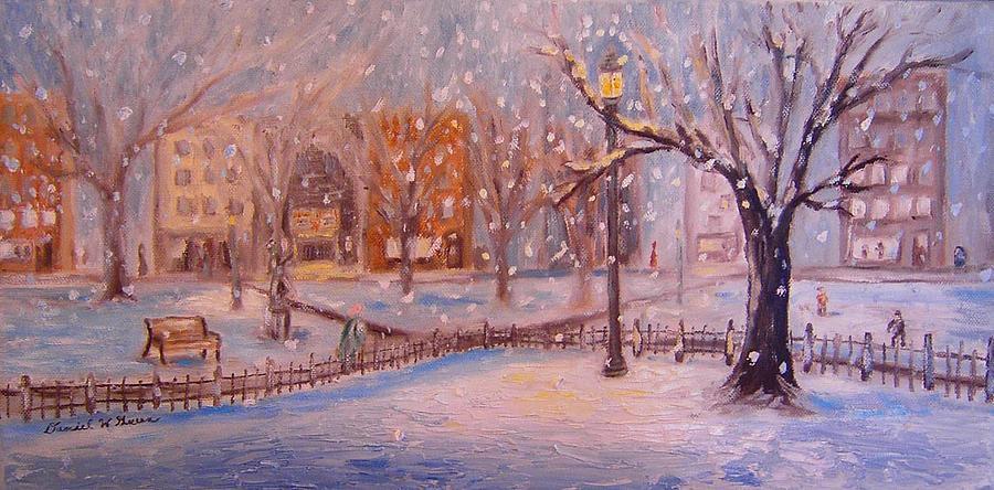 Snow Painting - A Short Cut Through The Park by Daniel W Green