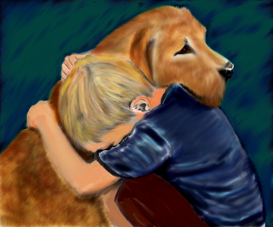 Dog Painting - A Shoulder To Cry On by Shere Crossman