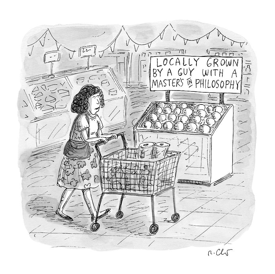 A Sign For Produce In A Grocery Store Reads Drawing by Roz Chast