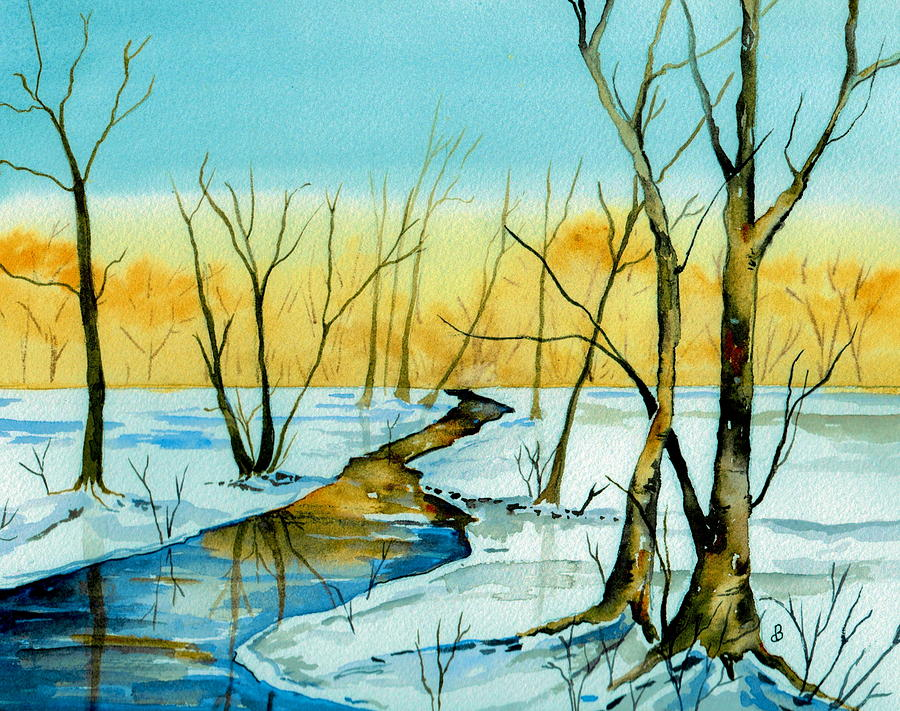 Landscape Painting - A Sign Of Winter by Brenda Owen