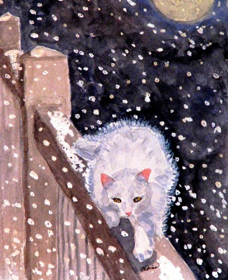 Cat Painting - A Silent Journey by Angela Davies