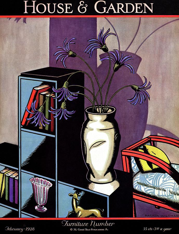 A Skyscraper Style Bookcase With A Vase Photograph by Marion Wildman