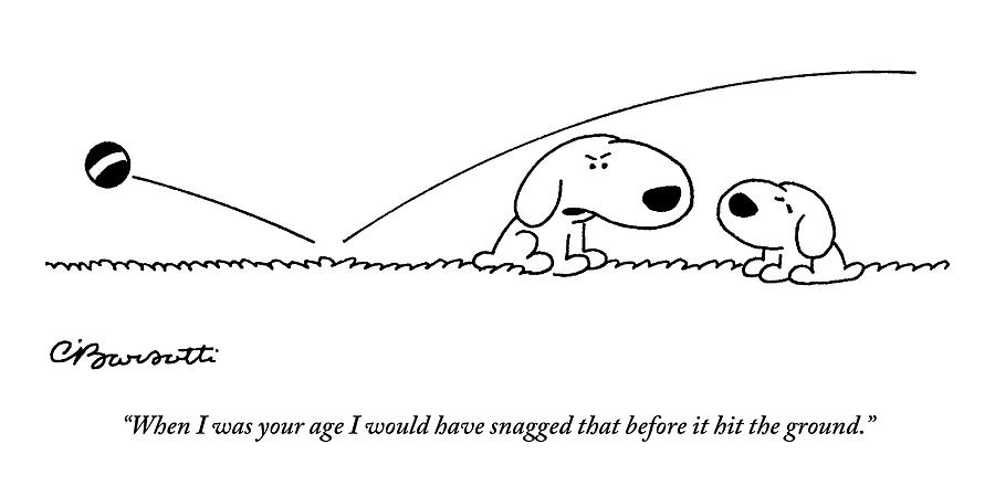 A Slightly Bigger Dog Talks To A Slightly Smaller Drawing by Charles Barsotti