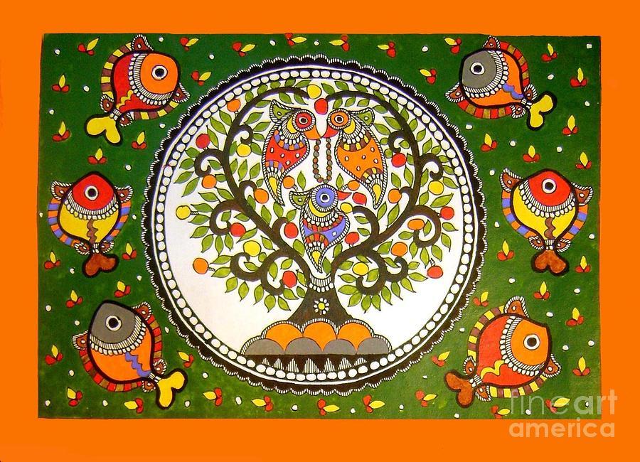 Birds Madhubani Painting India Art