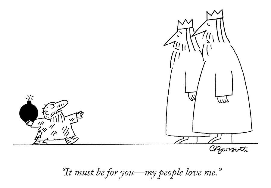 A Small Peasant Approaches Two Kings With A Bomb Drawing by Charles Barsotti