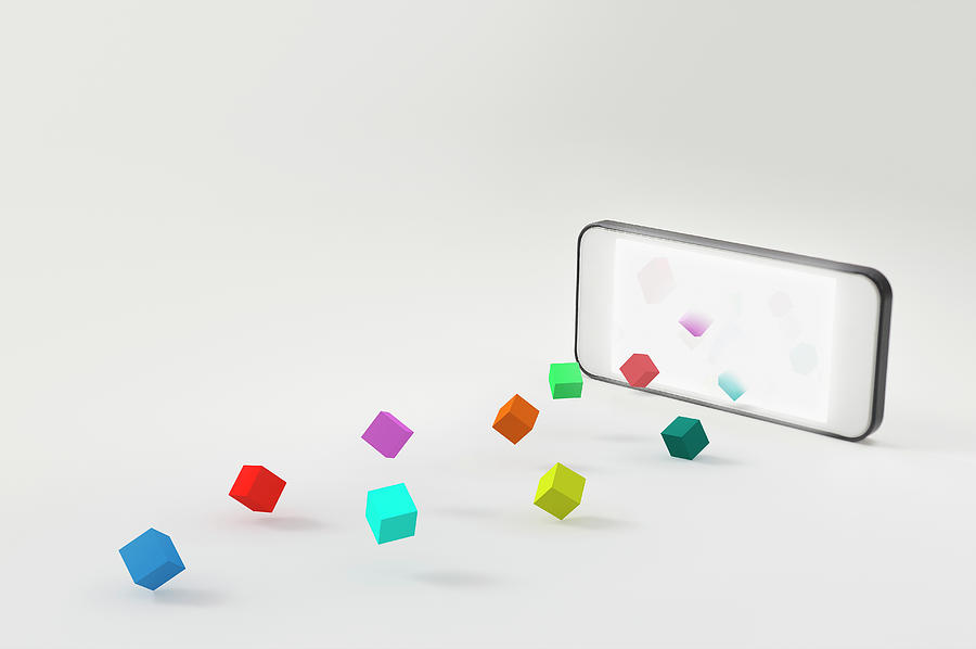 A Smartphone And A Block Photograph by Yagi Studio