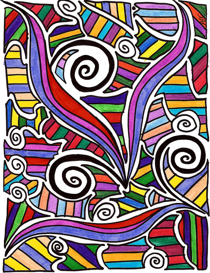Trippy Drawing - A Snails Playground by Alison Cloninger