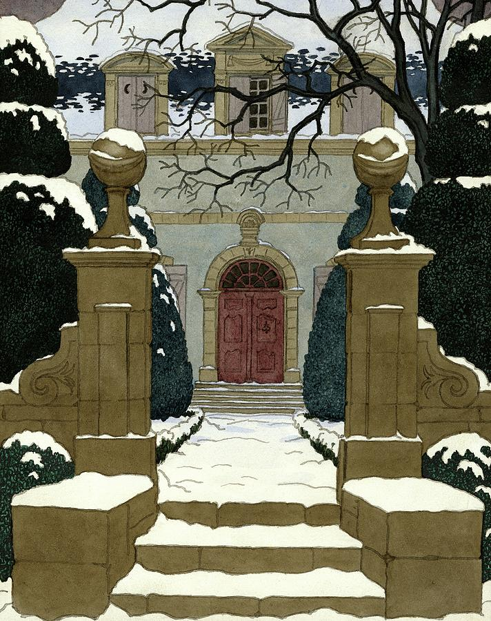 A Snow Covered Pathway Leading To A Mansion Digital Art by Pierre Brissaud