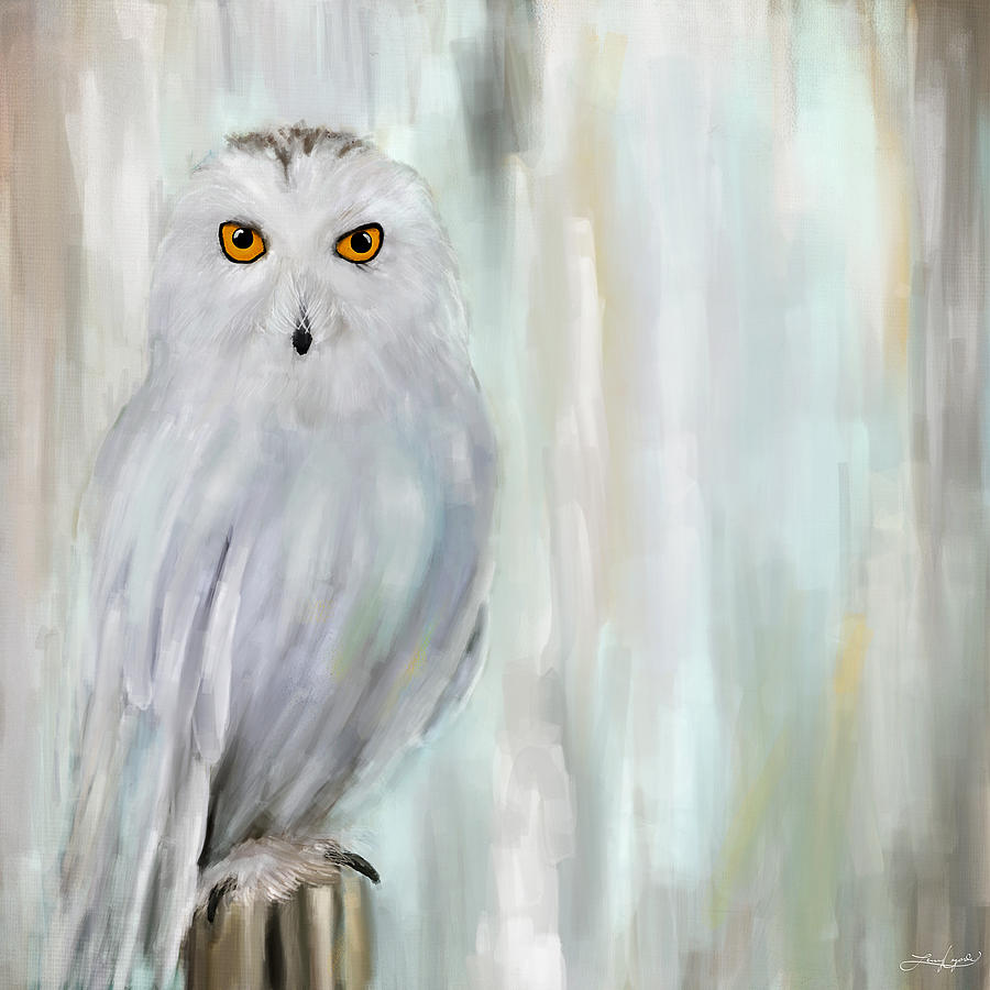 White Owl Painting - A Snowy Stare by Lourry Legarde