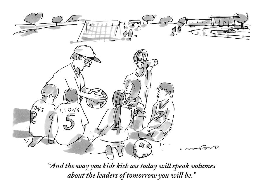 A Soccer Coach Gives His Team Of Kid Players Drawing by Michael Crawford