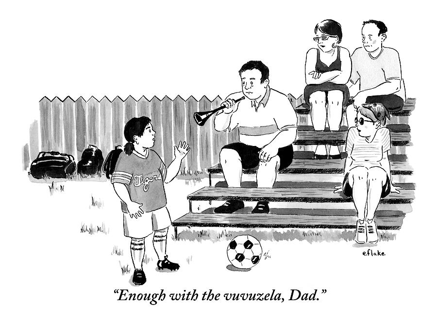 A Soccer-playing Little Girl Chastises Her Father Drawing by Emily Flake