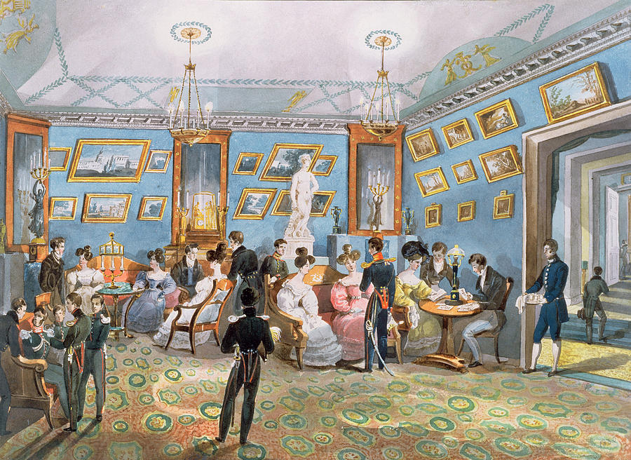 Interior Photograph - A Society Drawing Room, C.1830 Wc On Paper by Karl Ivanovich Kolmann