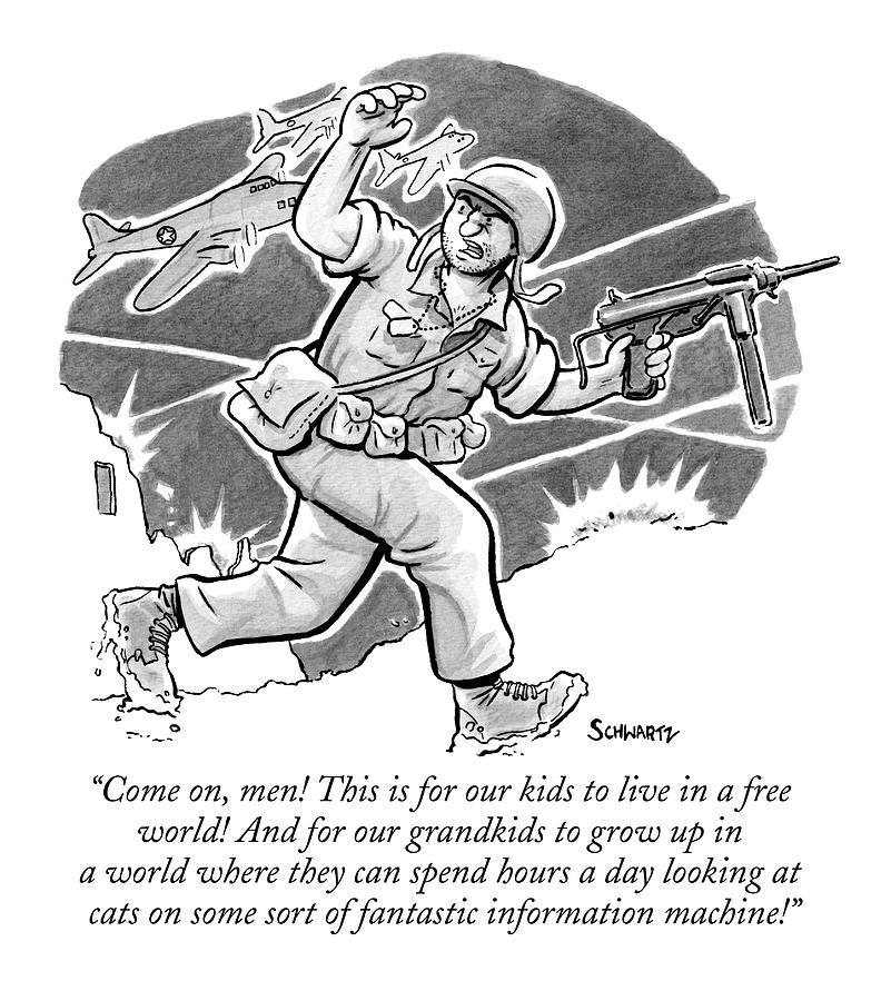A Soldier Holding A Gun Runs Through Battle Drawing by Benjamin Schwartz
