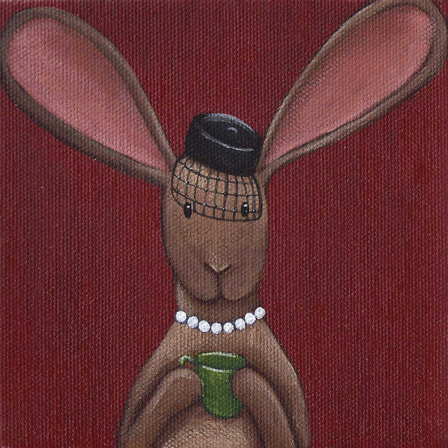 Bunny Painting - A Sophisticated Bunny by Christy Beckwith