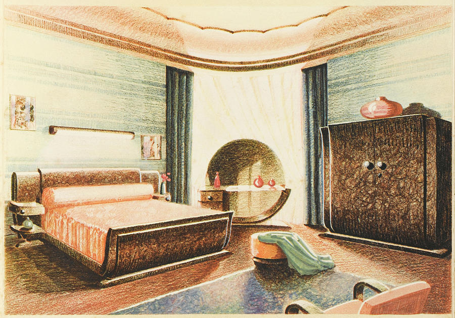 A Spacious Art Deco Bedroom Designed Drawing By Mary Evans Picture Library