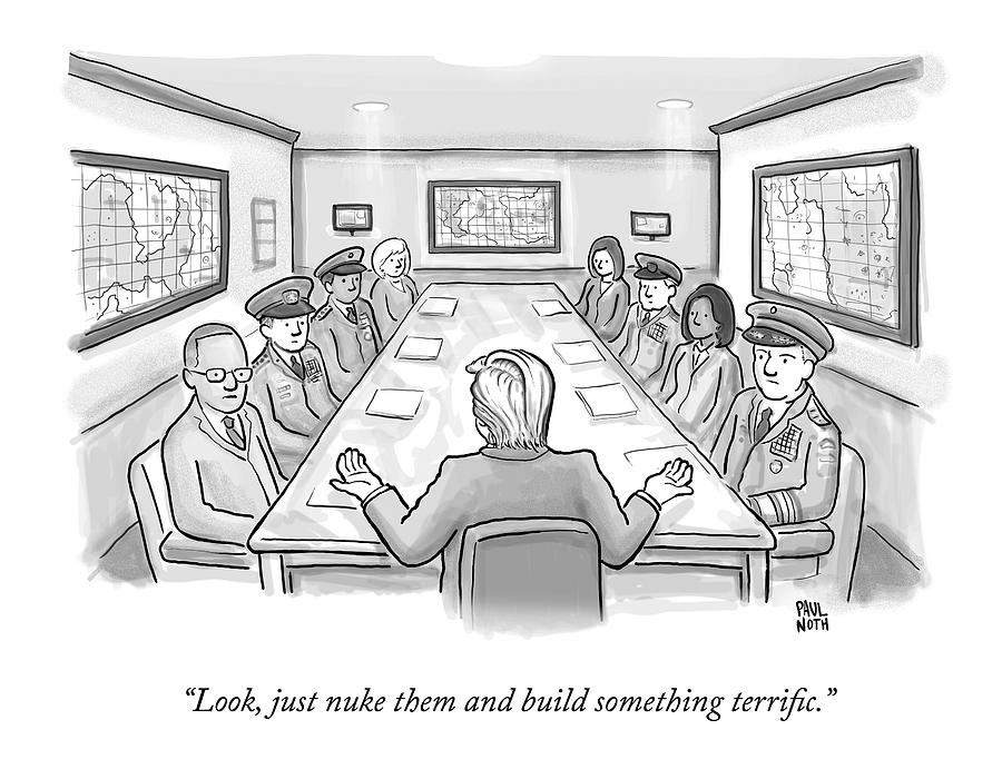 A Spectacularly Coifed Politician Speaks Drawing by Paul Noth