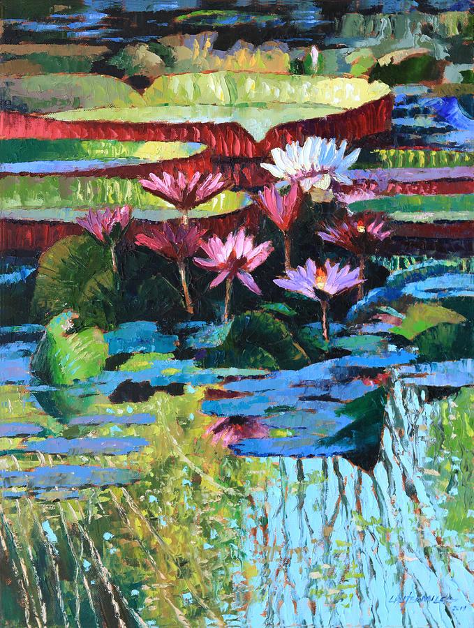 Garden Pond Painting - A Splash of Sunlight by John Lautermilch