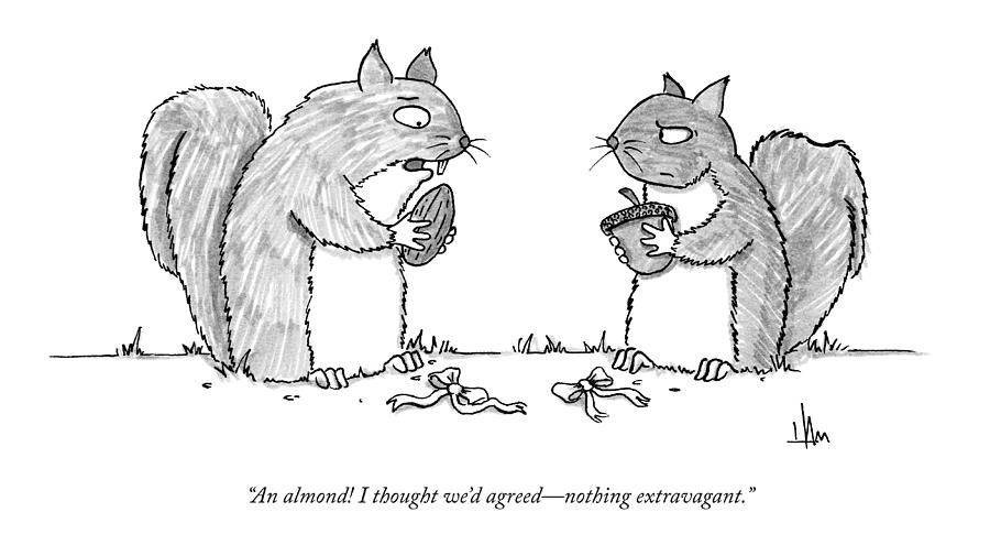 A Squirrel Couple Exchange Gifts Of An Acorn Drawing by Andrew Hamm