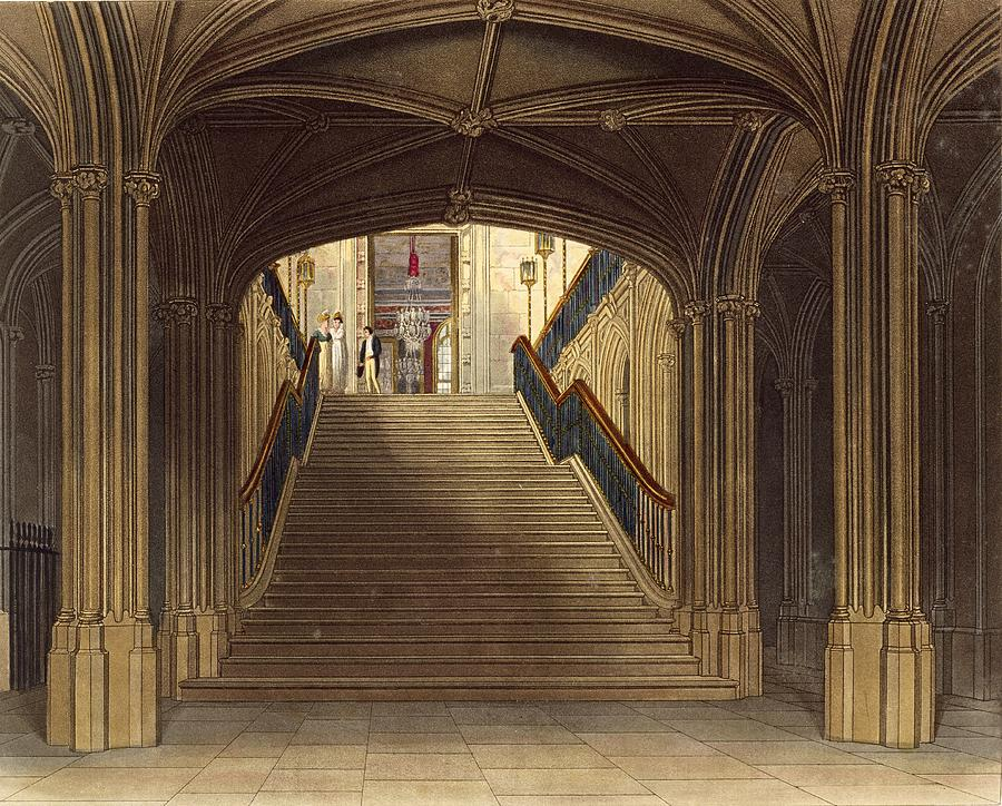 Step Drawing - A Staircase, Windsor Castle, From Royal by Charles Wild