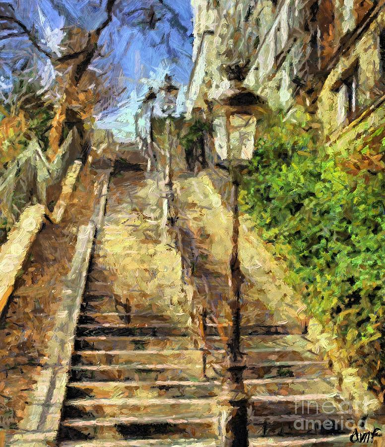 Landscapes Painting - A Stairway In Montmartre by Dragica  Micki Fortuna