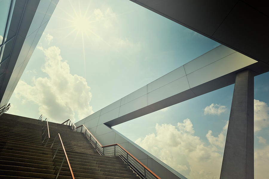 A Stairway Leading Up To Blue Sky With Photograph by 35007
