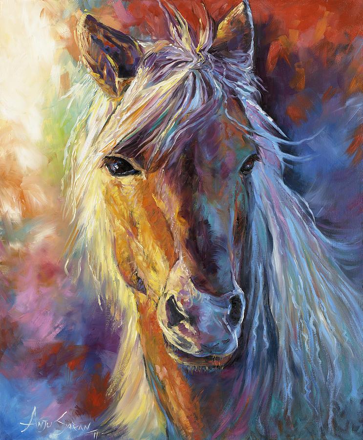 Stallion Painting - A Stallion by Anju Saran