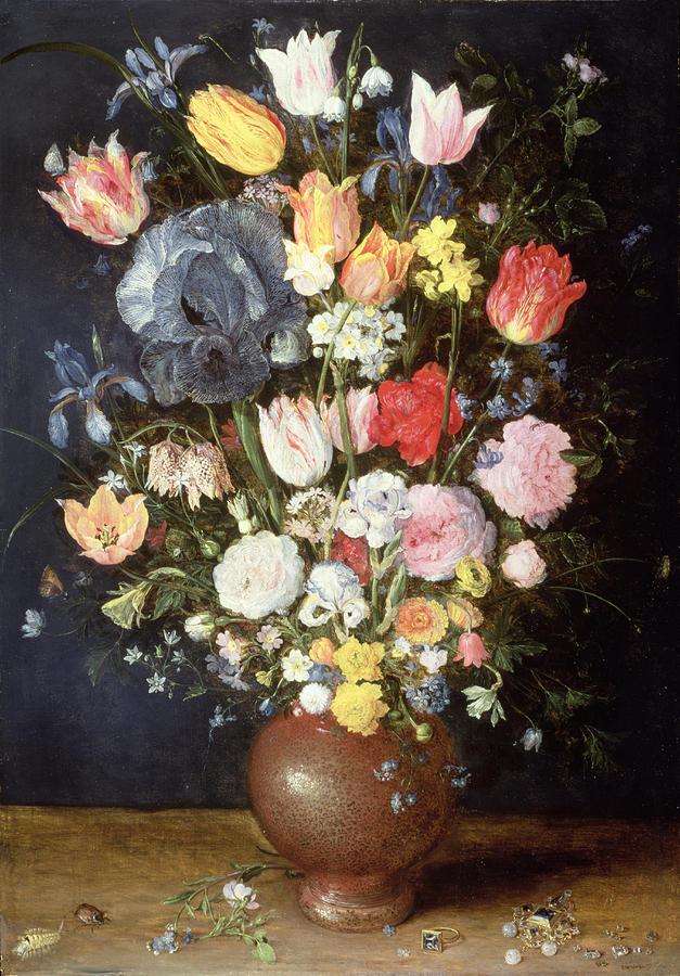 Velvet Brueghel Painting - A Stoneware Vase Of Flowers, C.1607-8 by Jan the Elder Brueghel
