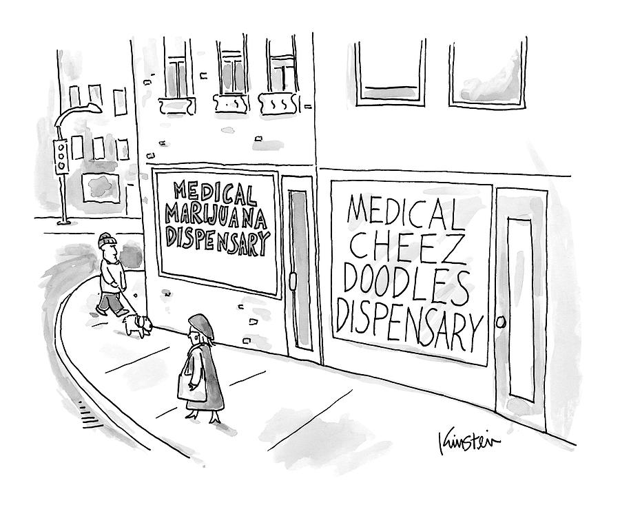 A Storefront Medical Marijuana Dispensary Drawing by Ken Krimstein
