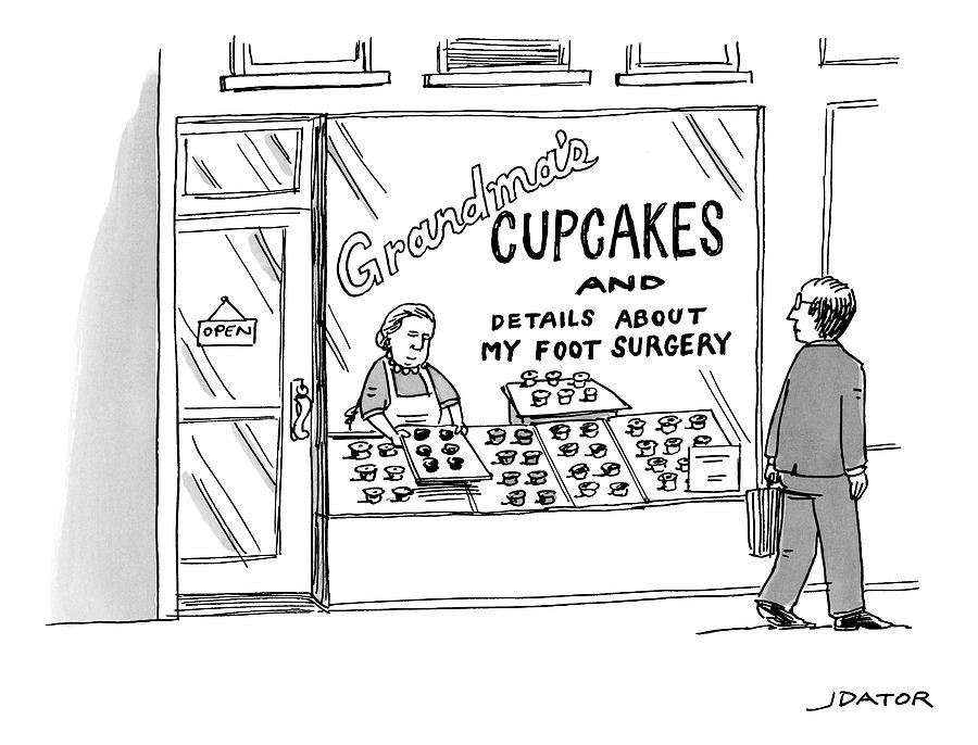 A Storefront Reads: Grandmas Cupcakes Drawing by Joe Dator