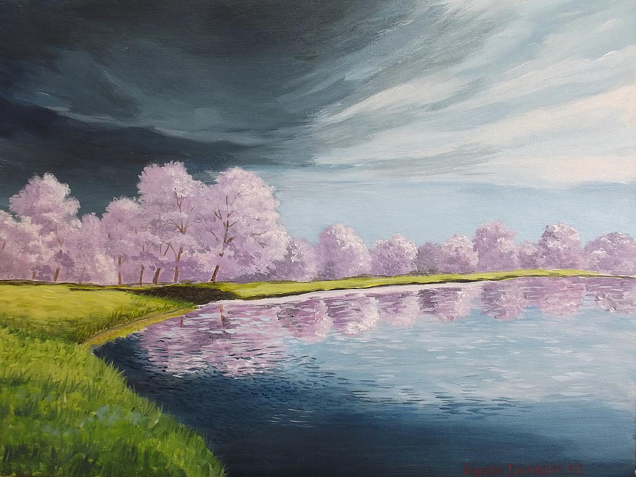Landscape Painting - A Storm Over Cherry Trees by Wanda Dansereau